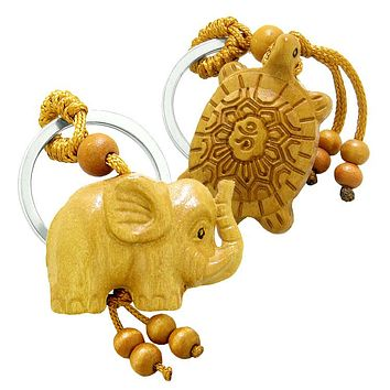 Amulet Baby Elephant and Sea Turtle Good Luck Charm Protection Powers Feng Shui Keychain Blessings