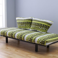 Hennepin Contemporary Daybed Futon Lounger with Black Metal Steel Frame, Includes Two Pillows, Tree Hugger