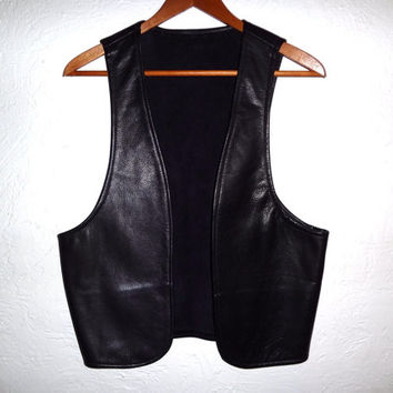 Vintage Black Leather Vest - Women's Medium - Genuine Leather - Boho Biker Vest - Made in the USA -