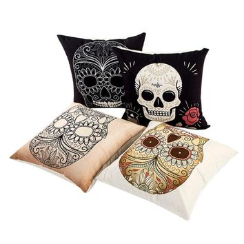 Pillow Sofa Throw Cushion Cover Home Decor Cushion  Case Linen Skull Pursuit Cushion Pillow Case