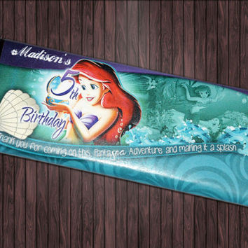 Princess Little Mermaid Ariel - Custom Birthday Party Candy Bar Wrapper Diy Printable