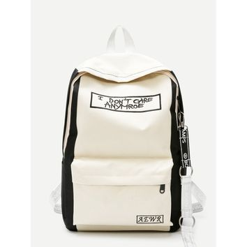 Slogan Embroidered Backpack