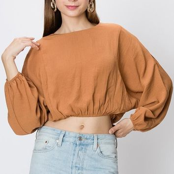 Women's Peasant Sleeve Crop Top with Lace-Up Back