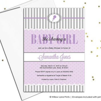 Printed baby shower invitations for a girl baby shower invite - gray purple baby shower invitations - digital baby shower invites - WLP00777