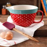 The Pioneer Woman Flea Market 2.83-Quart Batter Bowl with Decal Red Polka dot