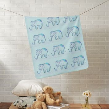 Magic Blue Elephants On A Way Of Stars Pattern Baby Blanket