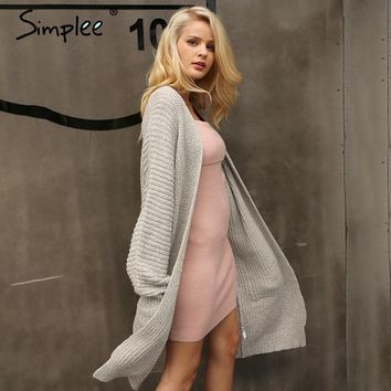 Knitted Long Loose Fit Cardigan Sweater