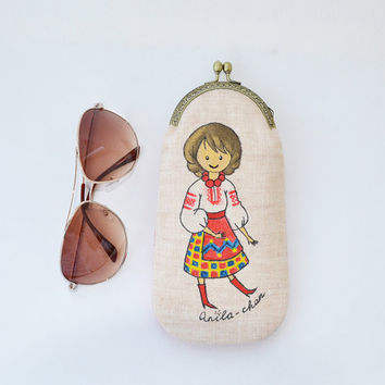 OOAK Hand painted soft glasses case | Metal frame eyeglass purse | Ethnic Eyeglasses holder | Boho Sunglass case | Ukrainian Folk eyewear