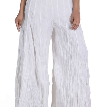 Jaipur Kala Kendra Women's Plain White Cotton Palazzo Casual Fashionable Pant Trouser JKK CPW4
