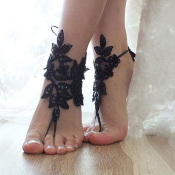 Free ship Black ivory white blue  Barefoot Sandals, french lace, shoes, Gothic, Wedding, Victorian Lace, Sexy, barefoot sandals