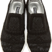 Black Brocade Slip-On Sneakers
