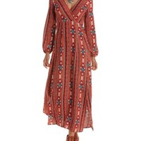 Rust Combo Tribal Print Long Sleeve Maxi Dress by Charlotte Russe