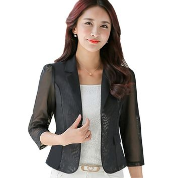 Spring Summer Small Suit Female Sheer Chiffon Shawl Sun Shirt Women Blazers And Jackets White Black Blazer Plus Size XXXL 2017