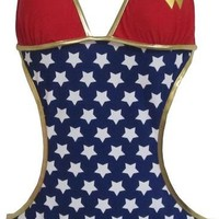 Wonder Woman Stars Logo Triangle Monokini One Piece Bathing Suit Licensed S-XL