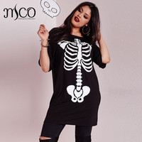 Elastic Halloween Skeleton Print Shirt