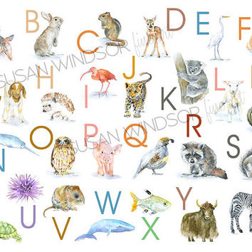 Animal Alphabet Large Poster - Watercolor Animals - Nursery Art ABCs - Kids Room - Children's Art