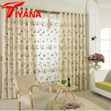 Fresh Pastoral Butterfly Embroidered Cotton Linen Blackout Curtains Living Room Bedroom Tulle Sheer Voile Cortinas DIY P229Z20