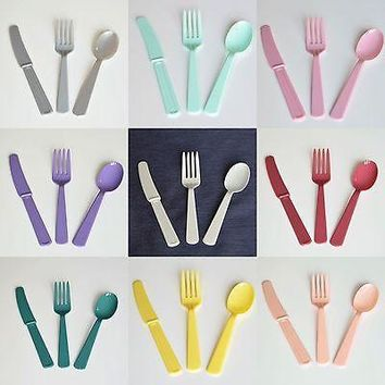 24 ct Premium Plastic Assorted Cutlery Knives Forks Spoons Multiple Colors Supplies Wedding Baby Shower Birthday