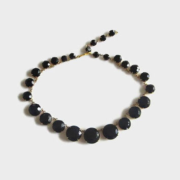 Black Glass Necklace, Art Deco Style, Open Back Setting, Single Link Chain Choker, 50s Does 30s Lovely, Halloween!