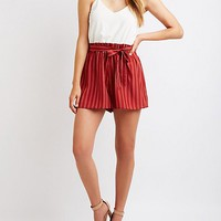 Tie Front Paperbag Romper | Charlotte Russe