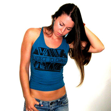 Subject to Change Teal Tank, Blue Tank Top, Upcycled Tank, Festival Tank, Braided Tank, Surfer Tank, Beach Tank, Change Yellow Lace Top