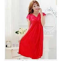 Women V Neck Lace Trimmed Silk Night Gown