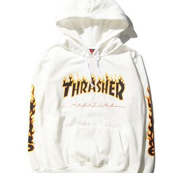 Trendy Thrasher Print Long Sleeve Loose Hoodies Sweater Pullover