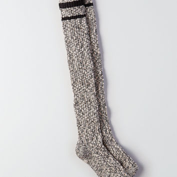 AEO Marled Over-The-Knee Socks, True Black