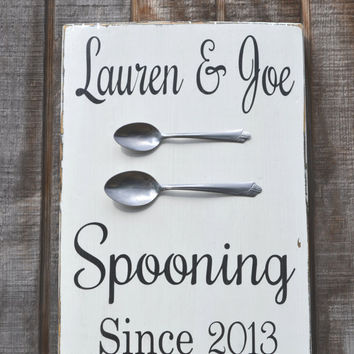 Valentines Day Gift Couples Gift Wedding Sign Spooning Custom Personalized Wood Sign Kitchen Decor Dining Anniversary Gift Rustic Painted