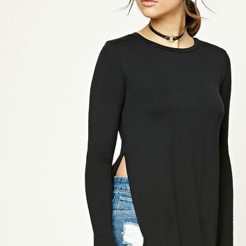 Slub Knit Vented Top