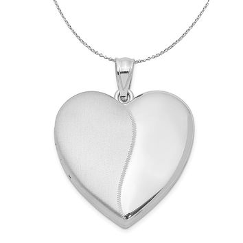 Silver 24mm Contrasting Satin and Polished Heart Locket Necklace