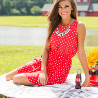 Dot Worry Be Happy Dress, Coral