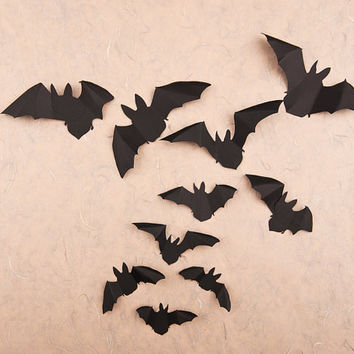 Gothic Black Bats, Halloween Wall Ornament, Party Decor, Children's Rooms