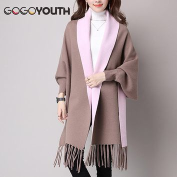 Gogoyouth Tassel Long Cardigan Female 2017 Autumn Tricot Sweater Women Jacket Knitted Cape Poncho Women Winter Top Jumper Kimono