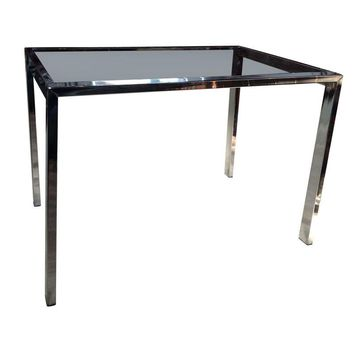 Pre-owned Modern Chrome & Smoked Glass End or Side Table