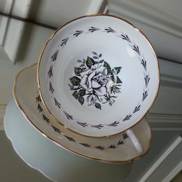 Antique Rosina black and white floral tea cup, English tea set, fine bone china wedding gift