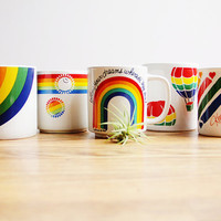 Vintage Rainbow Mugs / Set of 5 Assorted Coffee Cups / Colorful Mix / Instant Collection / White Modern Collectibles / Fun Kitchen Accents