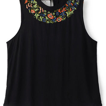 Black Sleeveless Embroidery T-shirt