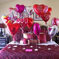 Ideas. Gorgeous Valentines Decoration Ideas for Your Fantastic House: Valentine's Day Decoration In Gorgeous Bedroom Shocking Red Love Heart Balloon Elegance Vintage Chocolate Wooden Table Standing Lamp Astounding Maroon Bed Cover And Pillow Case Picture