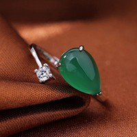 BSL Fine Jewelry Green Gemstone Rings, Real 925 Sterling Silver Rings For Women Wedding Adjustable Size