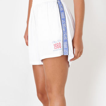 Stussy Black Letter Runaway Shorts in White & Blue