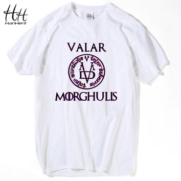 HanHent Valar Morghulis Game Of Thrones T Shirts Men Fashion Summer Clothing All Men Must Die Male Printed T-shirts Tees Black