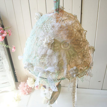 Shabby Chic Vintage Mobile with Vintage Tattered Lace and Ribbons, Vintage Hanging Picture Display, Nursery Decor Mobile, Mint and Coral