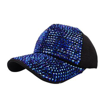 Trendy Winter Jacket Luxury Bling Rhinestones Pearl Sequins Baseball Cap For Women Summer Breathable Mesh Hat Girls Snapback Fashion Leisure cap AT_92_12