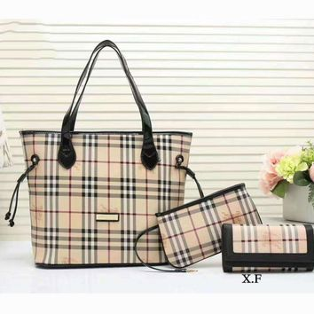 Tagre™ Burberry Women shopping shoulder bag female inclined shoulder bag coffee three piece G-3A-XNRSSNB