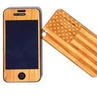 RECOVER - WOOD SKIN FOR iPHONE 4 CHERRY FLAG