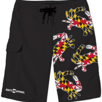 Maryland Full Flag Crab (Black) / Board Shorts