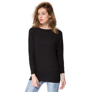 Simple Scoop Neck Long Batwing Sleeve Solid Color Slimming Knitted Women's Dress