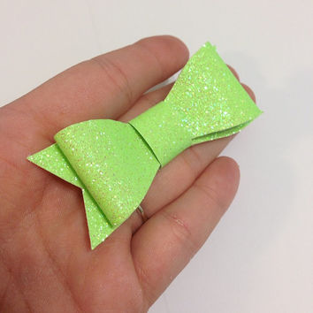 Neon Green Glitter Canvas / Vinyl Hair Bow - 3 inches - Affordable and High Quality Hair Bows