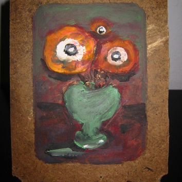 Roky Roka Still Life Flowers In Green Vase On Primitive Cork Board